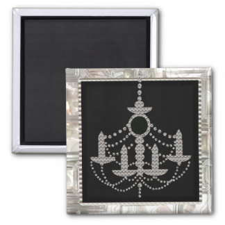 Victorian Crystal Chandelier Wedding Monogram Square Magnet