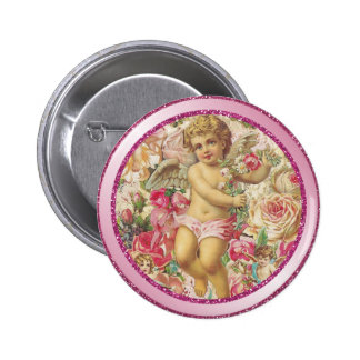 Victorian Cupid and Roses Floral 6 Cm Round Badge
