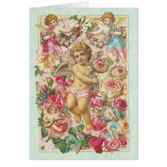 Victorian Cupid and Roses Floral Card