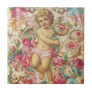 Victorian Cupid and Roses Floral Small Square Tile