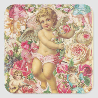 Victorian Cupid and Roses Floral Sticker