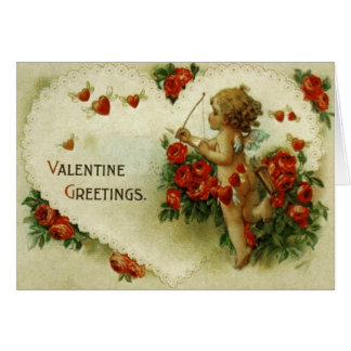 Victorian Cupid Roses Valentine s Day Card