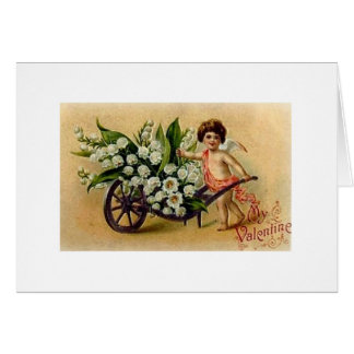 Victorian Cupid with Flowers Valentine s Day Card