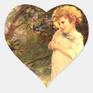 Victorian cutie with birds heart sticker