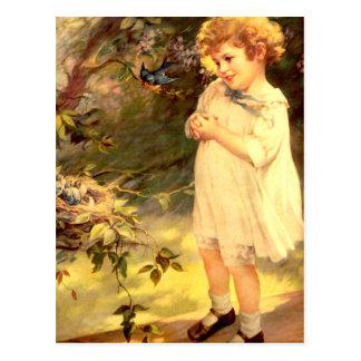 Victorian cutie with birds postcard