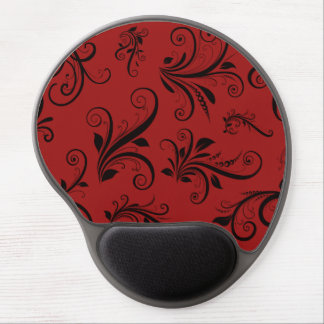 Victorian Damask, Ornaments, Swirls - Red Black Gel Mouse Mat