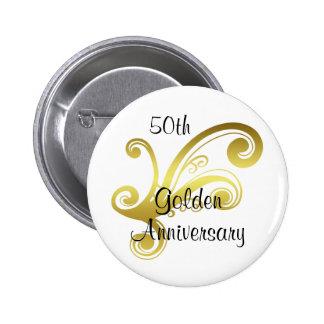 Victorian damask swirls golden wedding anniversary 6 cm round badge