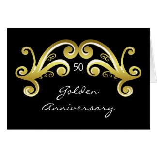 Victorian damask swirls golden wedding anniversary greeting card