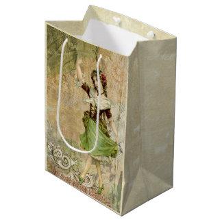 Victorian Dancing Girl Green Red Rose Gift Bag Medium Gift Bag