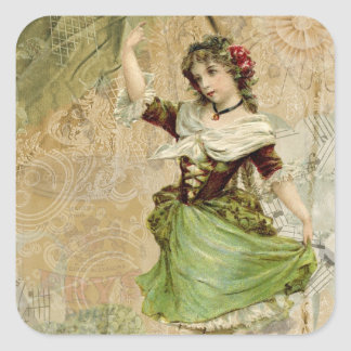 Victorian Dancing Girl Green Red Rose Stickers