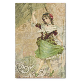"""Victorian Dancing Girl Green Red Rose Tissue Paper 10"""" X 15"""" Tissue Paper"""