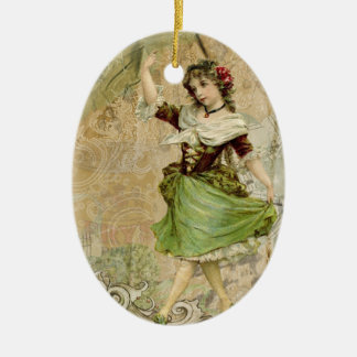 Victorian Dancing Girl Green w/ Red Rose Ornament
