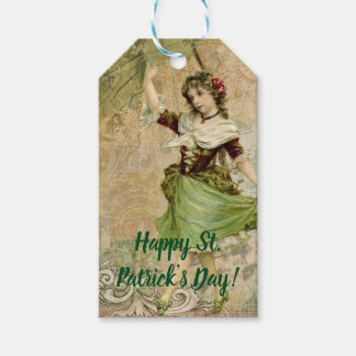 Victorian Dancing Girl in Green St. Patrick's Day Gift Tags