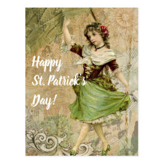 Victorian Dancing Girl in Green St. Patrick's Day Postcard