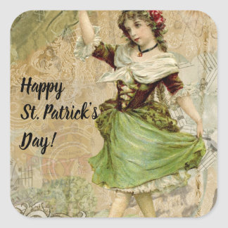 Victorian Dancing Girl in Green St. Patrick's Day Square Sticker