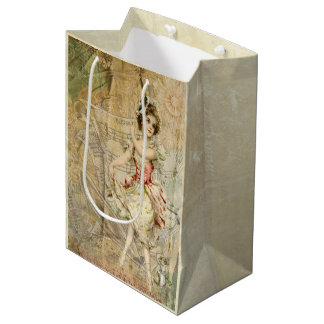 Victorian Dancing Girl Sheet Music Gift Bag Medium Gift Bag