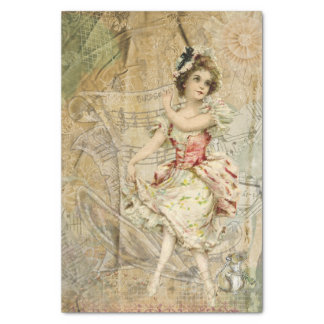 "Victorian Dancing Girl Sheet Music Tissue Paper 10"" X 15"" Tissue Paper"