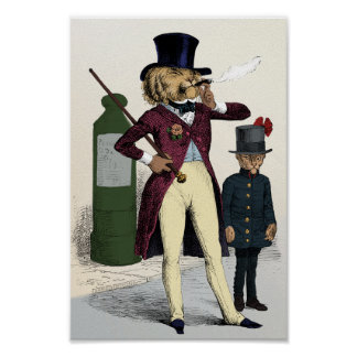 Victorian dandy lion smoking cigar poster
