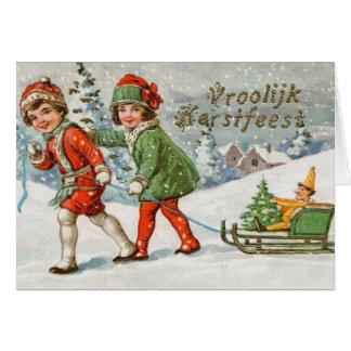Victorian Dutch Vroolijk Kerstfeest Christmas Card