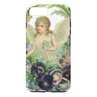 Victorian Easter Angel with Purple Pansy Flowers iPhone 8 Plus/7 Plus Case