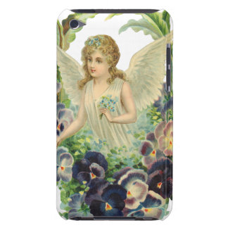 Victorian Easter Angel with Purple Pansy Flowers iPod Touch Cover