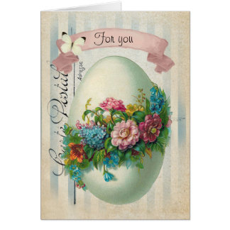 Victorian Easter Flower Egg Greeting Card