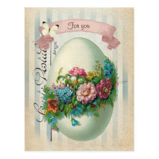 Victorian Easter Flower Egg Postcard