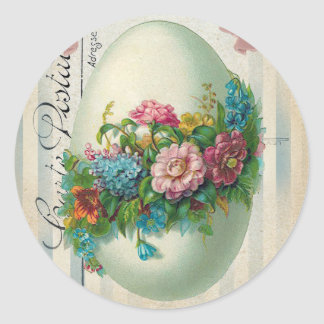 Victorian Easter Flower Egg Round Sticker