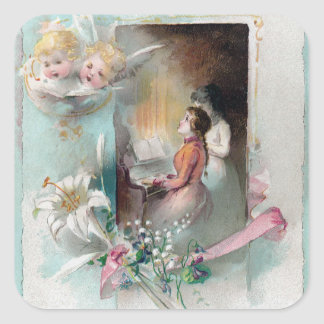 Victorian Easter with Woman at Piano and Cherubs Square Sticker