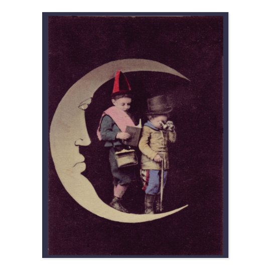 Victorian Era Children On A Crescent Moon Postcard