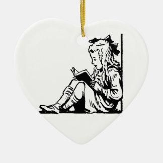 Victorian Era Girl Reading A Book Ceramic Heart Decoration