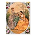 Victorian Fashion Plate Women and child Postcard