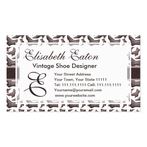 Victorian Fashion Vintage Style Boots Pattern Business Card Template