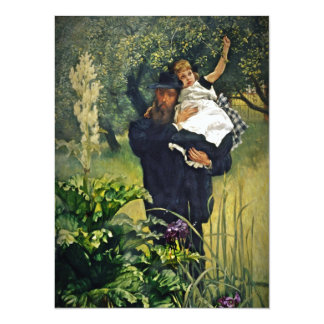 Victorian Father Carrying His Daughter 5.5x7.5 Paper Invitation Card