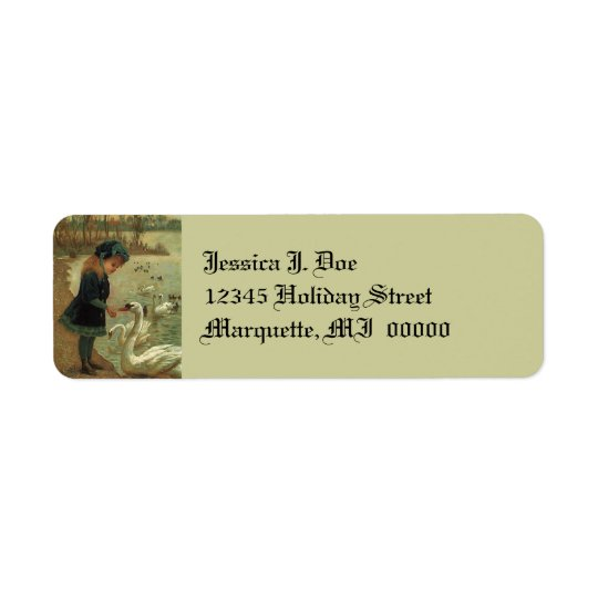 Victorian feeding Swans Girl Return address Label