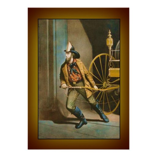 """Victorian Firefighter 2 """"The American Fireman"""" Poster"""