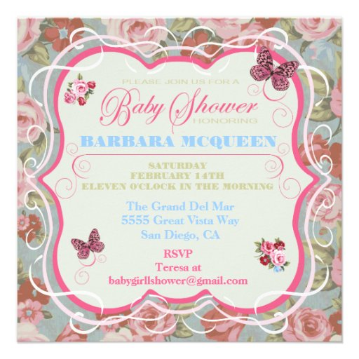 Victorian Floral Baby Shower Invitations