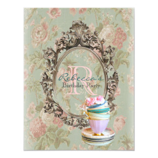 victorian floral cupcake english tea party card
