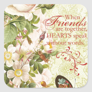 Victorian Floral Friendship Square Sticker