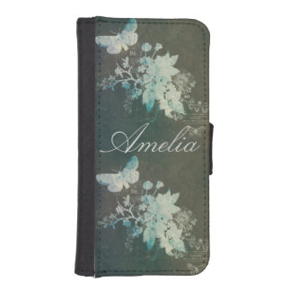 Victorian floral green grunge vintage shabby chic phone wallet cases