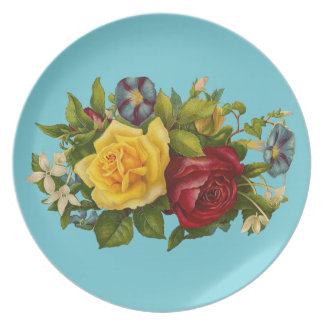 Victorian Floral Melamine Plate