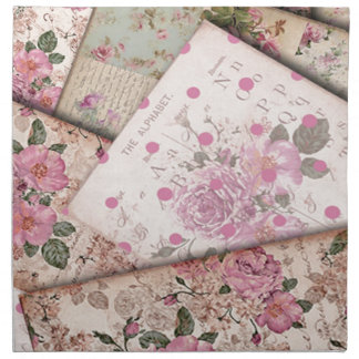 Victorian floral papers cloth napkins