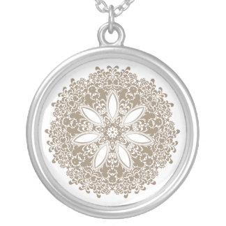 VICTORIAN | floral pattern any color Silver Plated Necklace