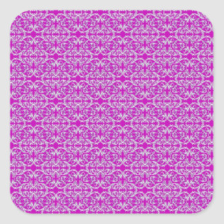 Victorian Floral Pattern in Pink Square Sticker