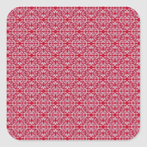 Victorian Floral Pattern in Red Square Stickers