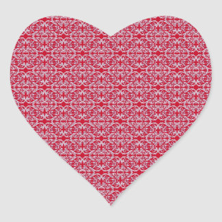 Victorian Floral Pattern in Red Heart Stickers