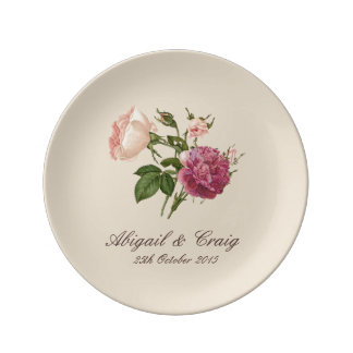 Victorian Floral Personalised Porcelain Plate