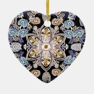 victorian floral restored ceramic heart decoration