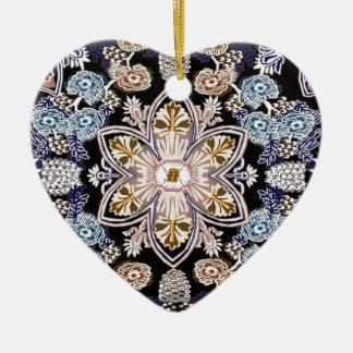 victorian floral restored ceramic heart decoration