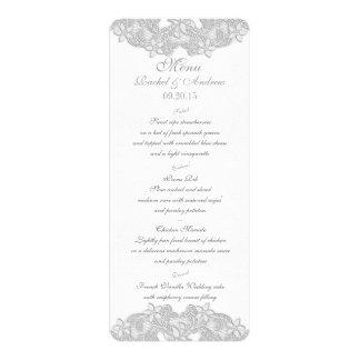 Victorian Floral Silver Gray Menu Card